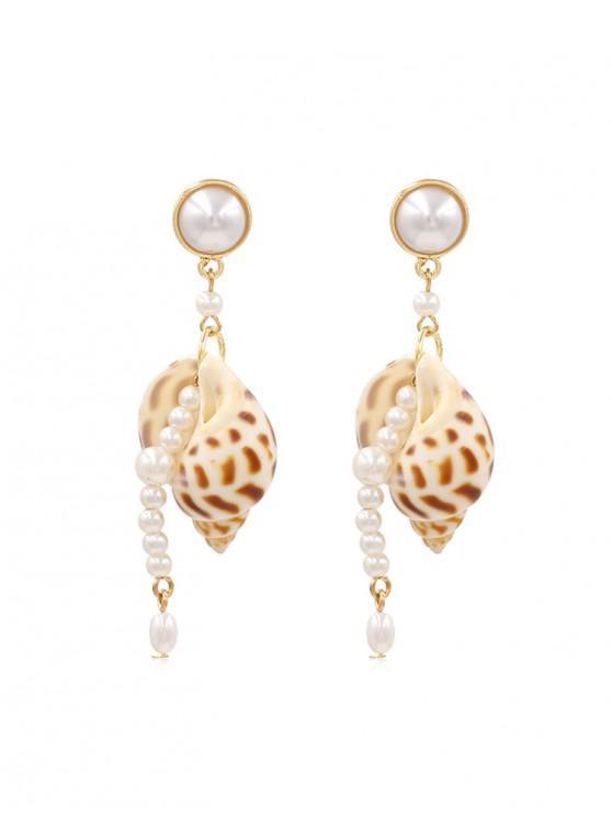 shop Beaded Faux Pearl Conch Drop Earrings - GOLD