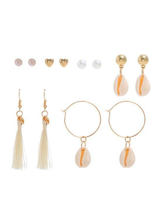 buy 6Pairs Shell Tassel Heart Earrings Set - GOLD