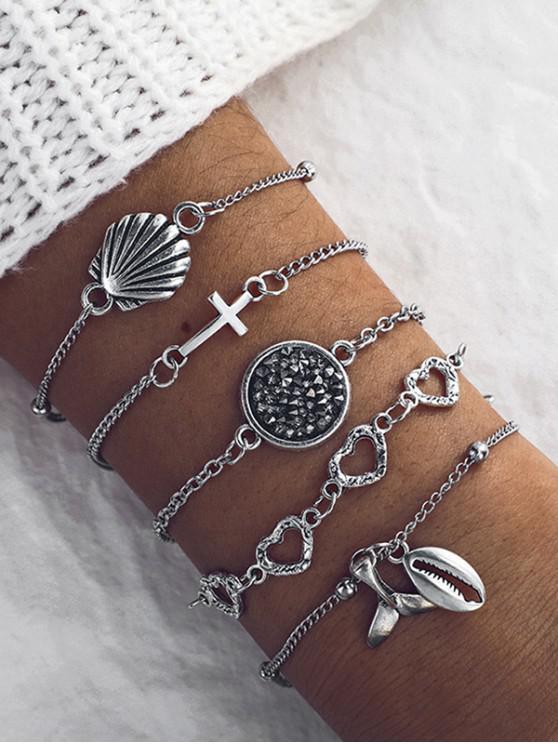 latest 5Pcs Cross Heart Shell Fishtail Bracelet Set - SILVER