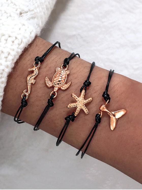 Set di bracciali Fishtail Fishtail 4 pezzi in tartaruga marina - Nero