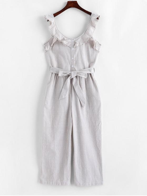 hot Half Buttoned Stripes Wide Leg Jumpsuit - APRICOT M