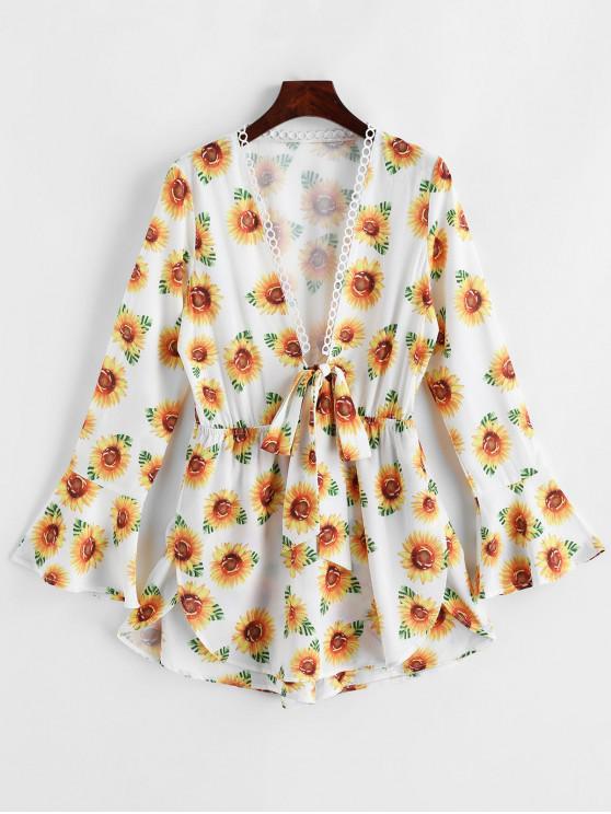 best Flare Sleeve Knotted Sunflower Skorts Romper - WHITE S