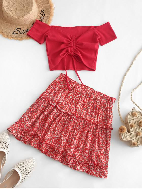 outfits Contrast Cinched Off Shoulder Ditsy Floral Two Piece Dress - RED L