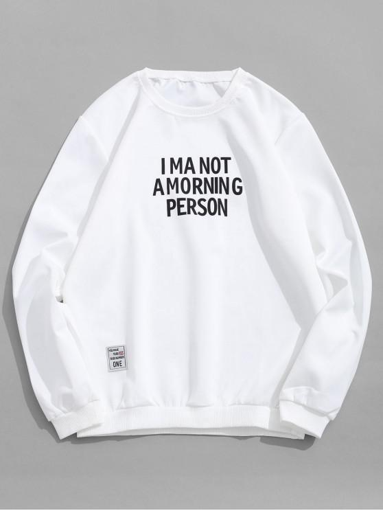 best Letter Graphic Print Casual Sweatshirt - WHITE M