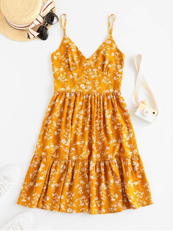 ladies ZAFUL Buttons Floral Print A Line Cami Dress - BEE YELLOW S