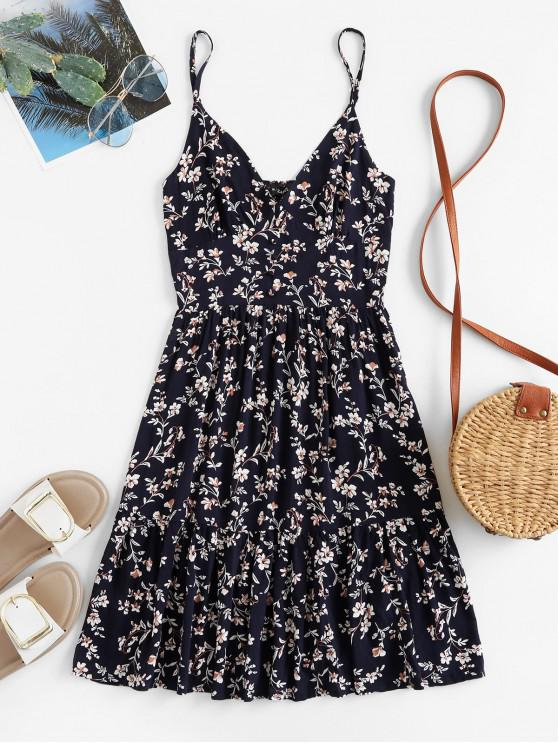 lady ZAFUL Buttons Floral Print A Line Cami Dress - DEEP BLUE L
