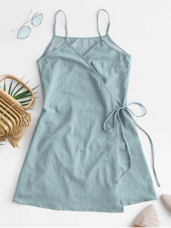outfits ZAFUL Tie Chambray Cami Wrap Dress - JEANS BLUE S