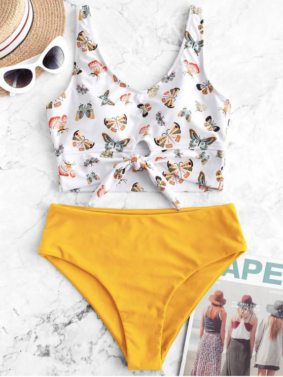 sale ZAFUL Butterfly Print Knot Tankini Swimsuit - RUBBER DUCKY YELLOW M