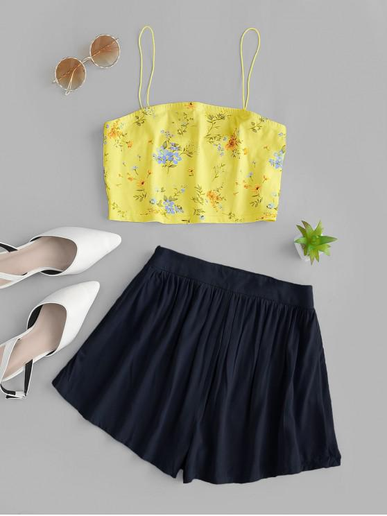 outfit ZAFUL Crop Floral Spaghetti Strap Two Piece Shorts Set - DEEP BLUE S