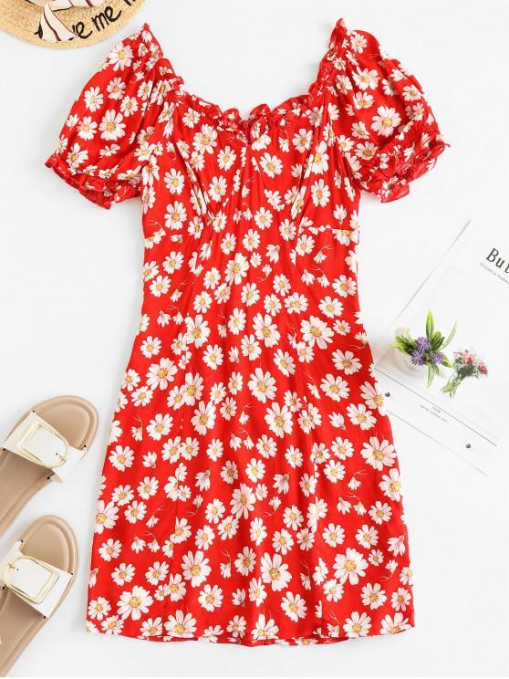 ZAFUL Daisy Floral Print Short Vestito da lattaio - Rosso Mollissima M