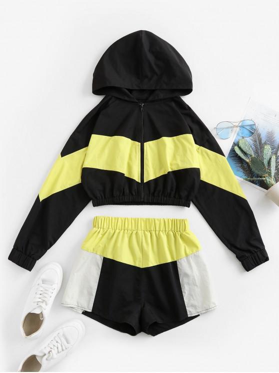 latest ZAFUL Colorblock Hooded Drop Shoulder Shorts Set - MULTI-A M