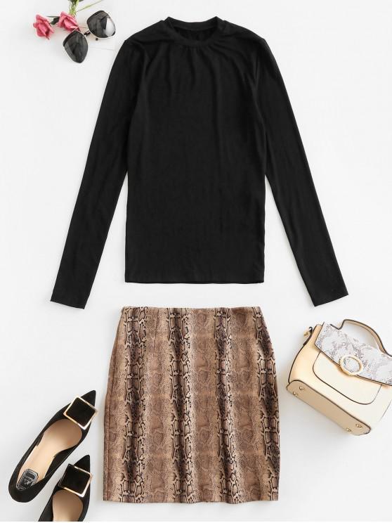 trendy ZAFUL Two Piece Snakeskin Print High Waist Skirt Sets - MULTI-A XL