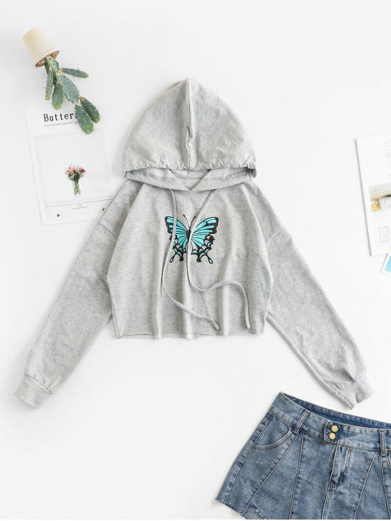 outfits ZAFUL Butterfly Print Cropped Drop Shoulder Hoodie - GRAY GOOSE M