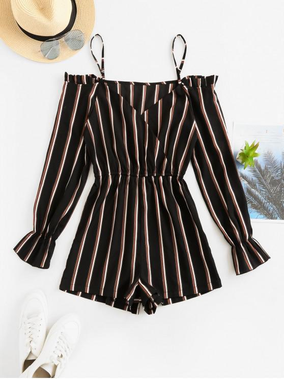 fancy ZAFUL Poet Sleeve Stripes Cold Shoulder Romper - BLACK M