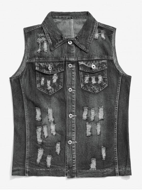 shops Solid Color Chest Pocket Ripped Jean Waistcoat - GRAY 2XL