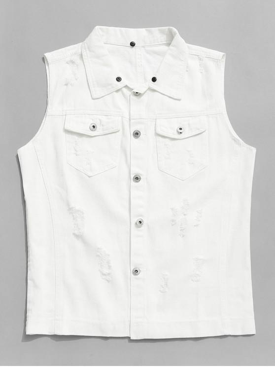 shop Solid Color Chest Pocket Ripped Jean Waistcoat - WHITE L