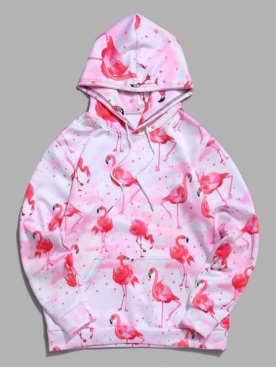 Felpa con cappuccio tinta unita color canguro con stampa cravatta fenicottero - Rosa Chiaro 2XL