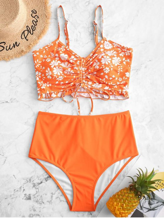 fashion ZAFUL Cinched Frilled Floral Tankini Swimsuit - PUMPKIN ORANGE M