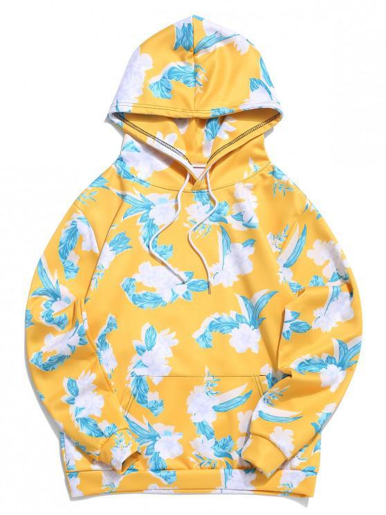 trendy Flower Print Kangaroo Pocket Hoodie - SUN YELLOW 4XL