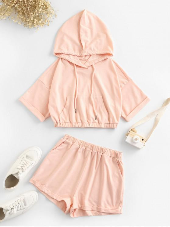 lady ZAFUL Drawstring Hooded Pocket Cuffed Two Piece Set - LIGHT PINK M