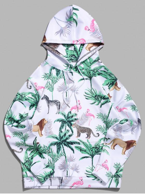 trendy Tropical Plant Flamingo Animal Print Kangaroo Pocket Vacation Hoodie - LIGHT SEA GREEN XL