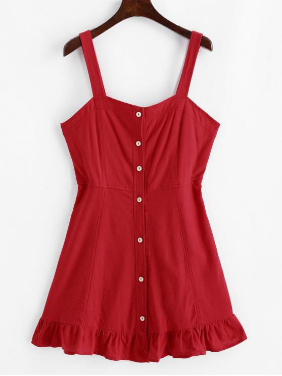 sale Ruffled Hem Smocked Back Button Up Mini Dress - RED XS