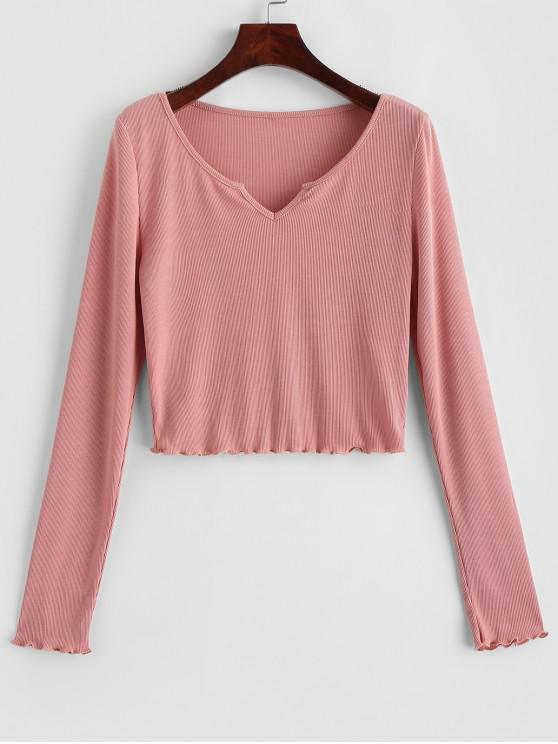 ladies ZAFUL Lettuce Trim Notched Crop Solid Tee - ROSE M