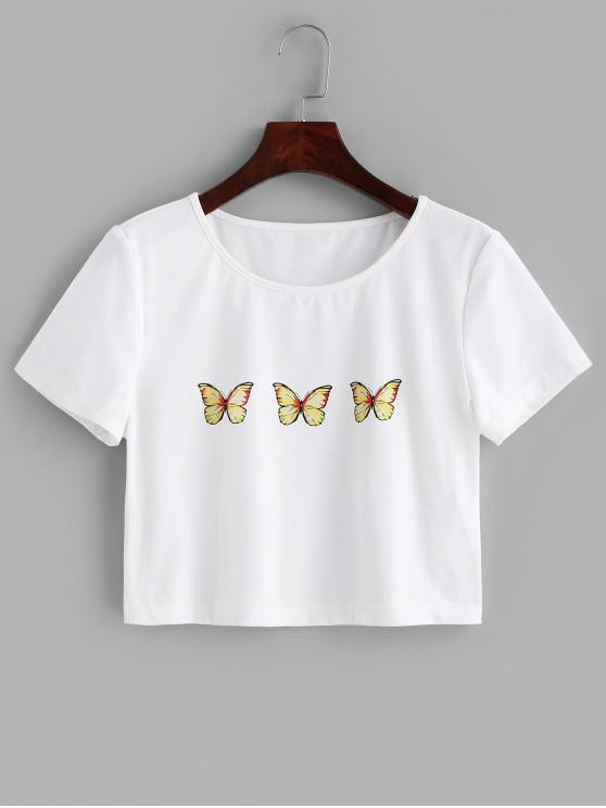 unique ZAFUL Butterfly Print Crop Tee - WHITE S