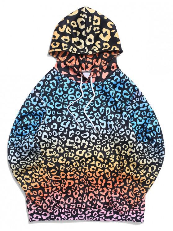Felpa con cappuccio tasca a marsupio stampa leopardo Ombre - Orso Bruno M
