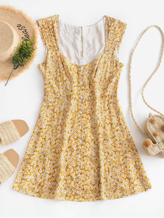 ladies Sleeveless Daisy Floral Buttoned Mini Dress - YELLOW S