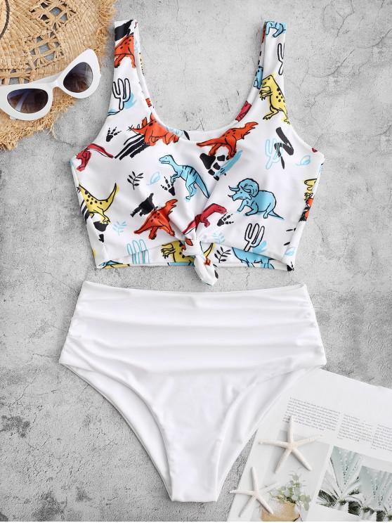 sale ZAFUL Knot Dinosaur Print Ruched Tankini Swimsuit - WHITE L