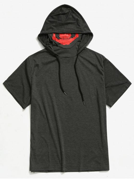womens Solid Halloween Skull Mask Print Zip-hem Hooded T-shirt - GRAY XS