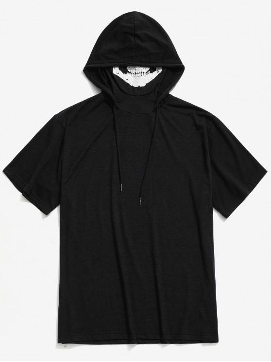 women Solid Halloween Skull Mask Print Zip-hem Hooded T-shirt - BLACK S