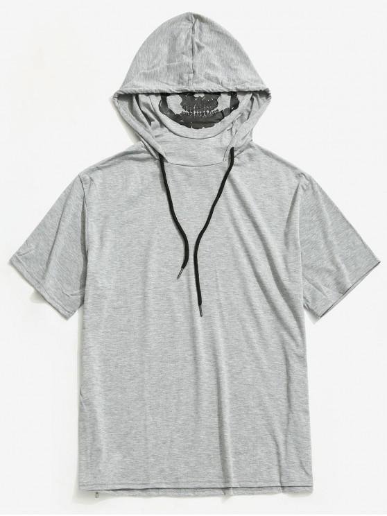 unique Solid Halloween Skull Mask Print Zip-hem Hooded T-shirt - LIGHT GRAY XS