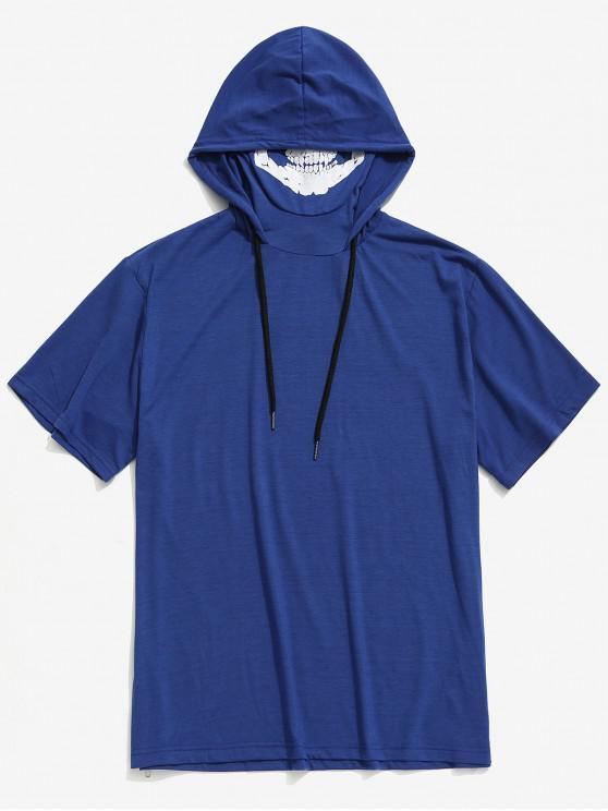 womens Solid Halloween Skull Mask Print Zip-hem Hooded T-shirt - BLUEBERRY BLUE XS