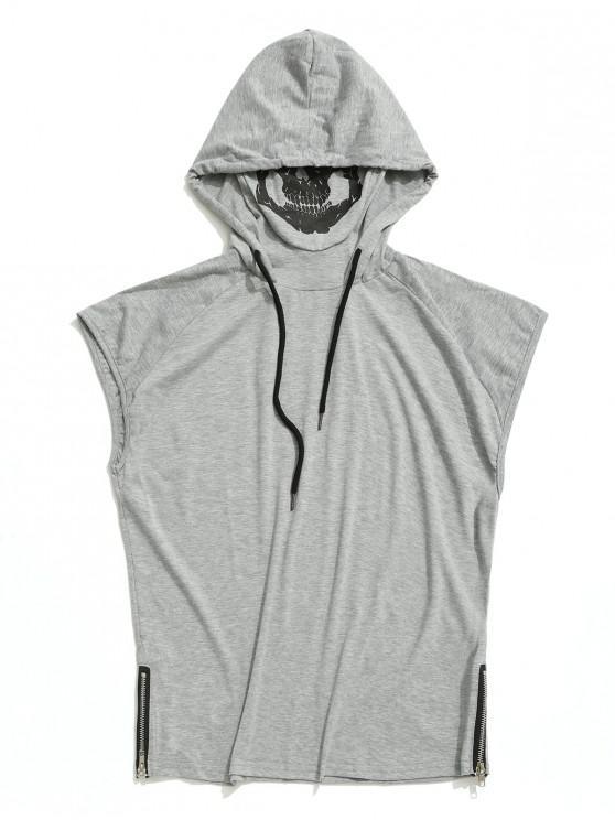hot Solid Zip-hem Skull Mask Print Hooded Tank Top - LIGHT GRAY XS