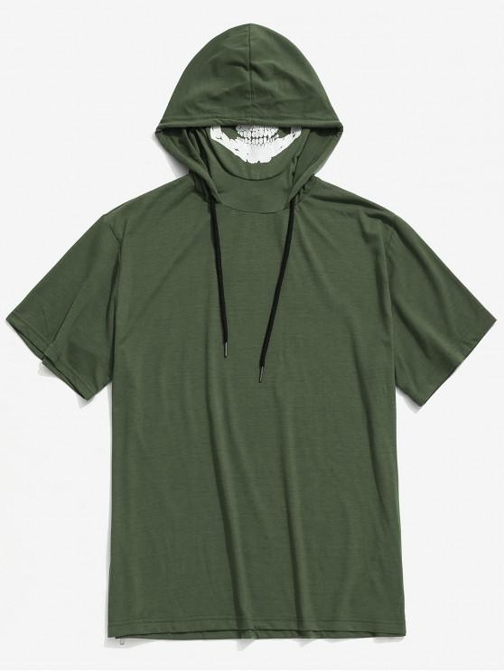 outfit Solid Halloween Skull Mask Print Zip-hem Hooded T-shirt - ARMY GREEN XS