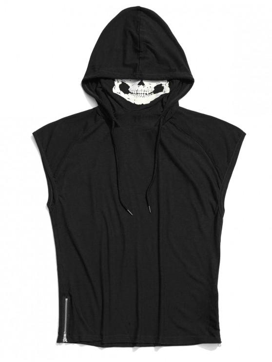 shops Solid Zip-hem Skull Mask Print Hooded Tank Top - BLACK XS