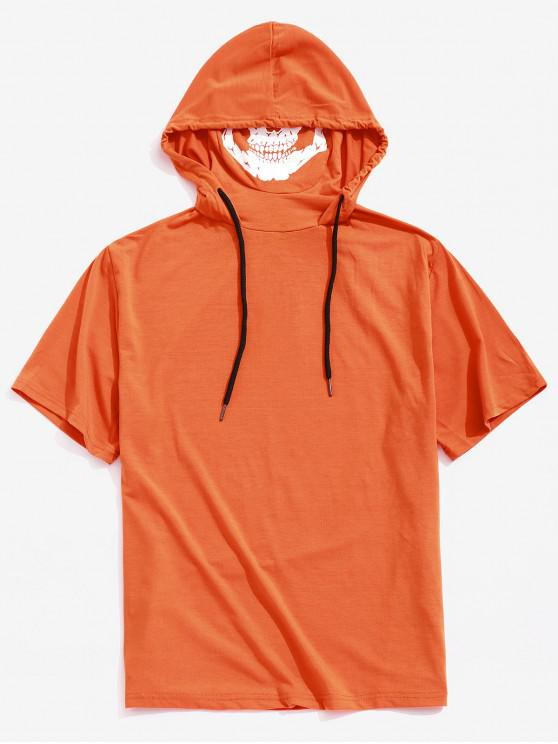 Camiseta con capucha y estampado de calavera con estampado de calavera sólida de Halloween - Naranja de Calabaza  M