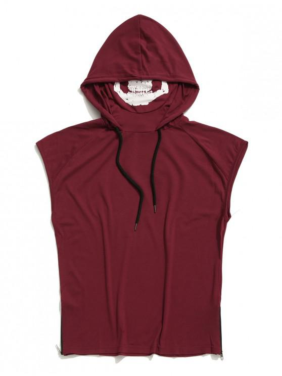 unique Solid Zip-hem Skull Mask Print Hooded Tank Top - RED WINE XS