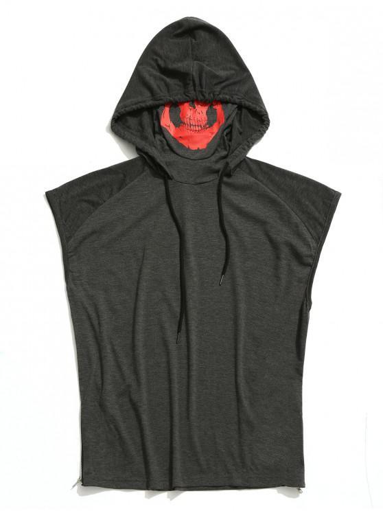 womens Solid Zip-hem Skull Mask Print Hooded Tank Top - GRAY XS