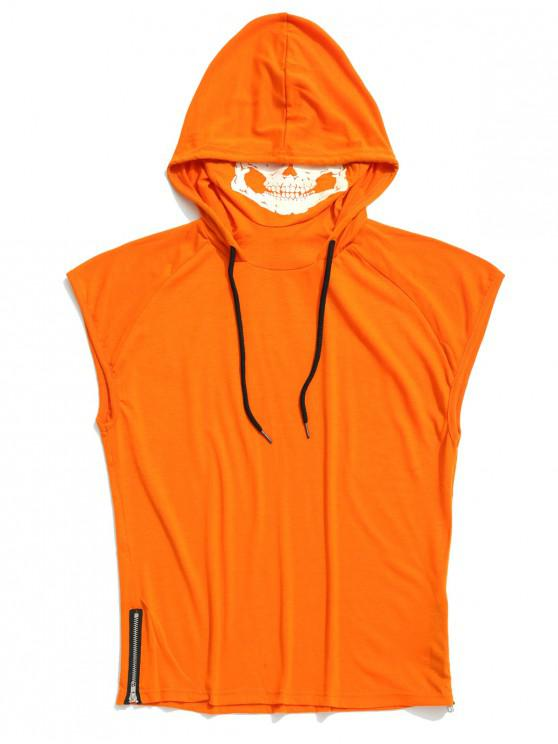 outfit Solid Zip-hem Skull Mask Print Hooded Tank Top - PUMPKIN ORANGE L