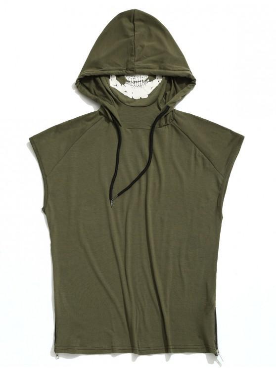 Camiseta sin mangas con capucha y estampado de máscara de calavera con dobladillo sólido - Ejercito Verde S
