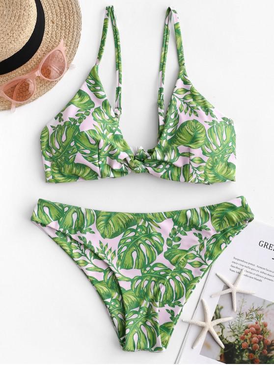 ladies ZAFUL Palm Knotted Tie Back Bikini Swimwear - MULTI-A M