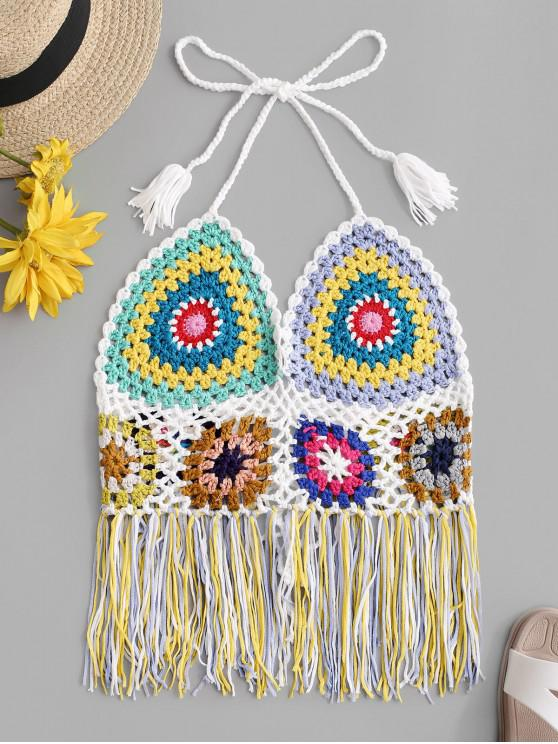 unique Halter Colorful Fringed Crochet Bikini Top - MULTI-A ONE SIZE