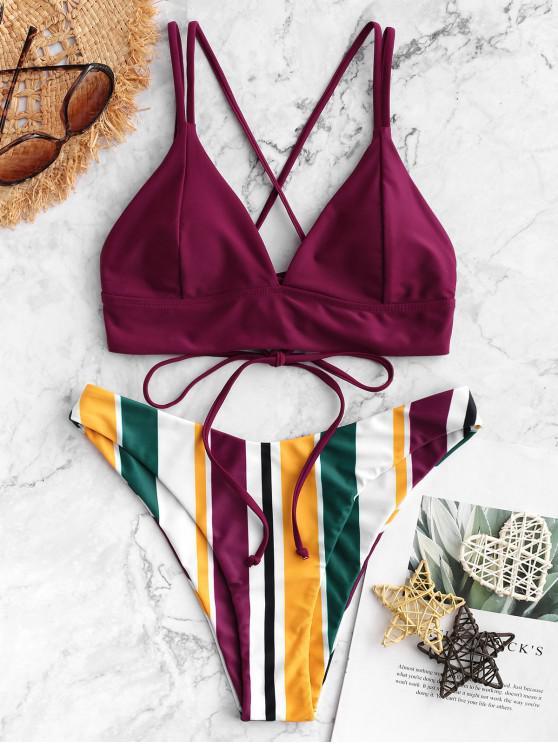Bañador de bikini de pierna alta con múltiples rayas y cordones entrecruzados ZAFUL - Marrón S