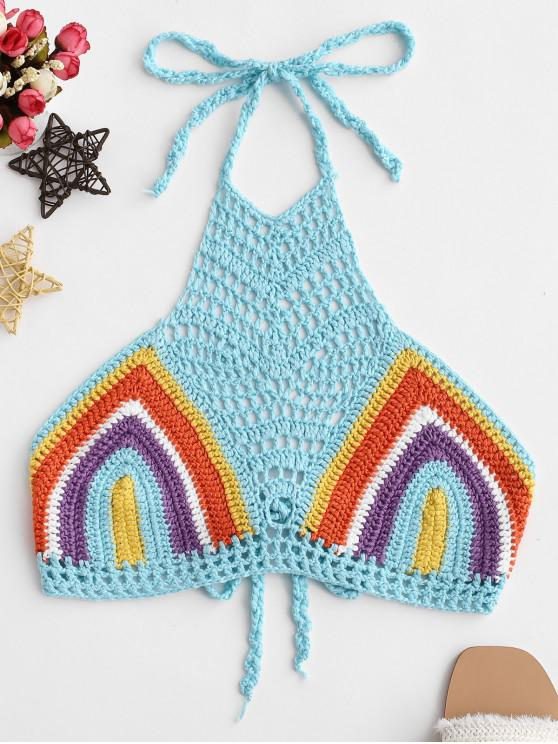 lady Halter Rainbow Striped Crochet Top - MULTI-A ONE SIZE