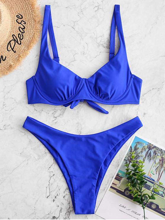 ZAFUL رفع ملابس السباحة بيكيني عالية قص معقود - أزرق S