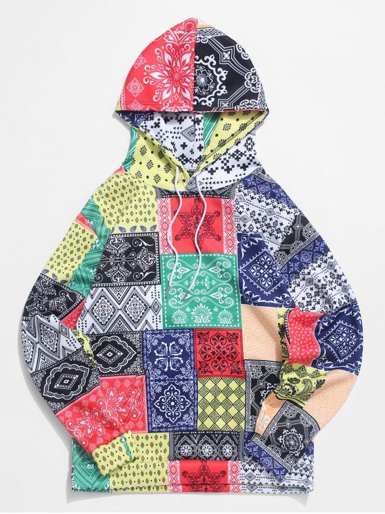 shop Bandana Tribal Print Casual Kangaroo Pocket Hoodie - MULTI L