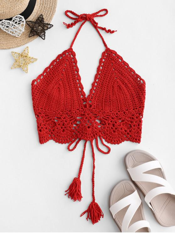 buy Lace-up Tassel Crochet Bikini Top - LAVA RED ONE SIZE